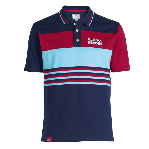 Help for Heroes Tri Colour Engineered Stripe Polo