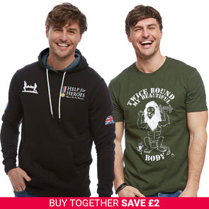 Help for Heroes Black Heritage Pullover Hoody and Twice Round T-Shirt Set