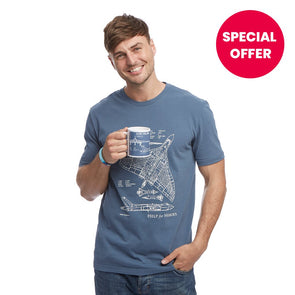 Help for Heroes Steel Blue Vulcan Mug and T-Shirt Set