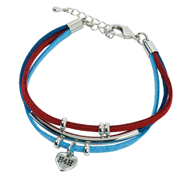 Help for Heroes Suede Heart Charms Bracelet