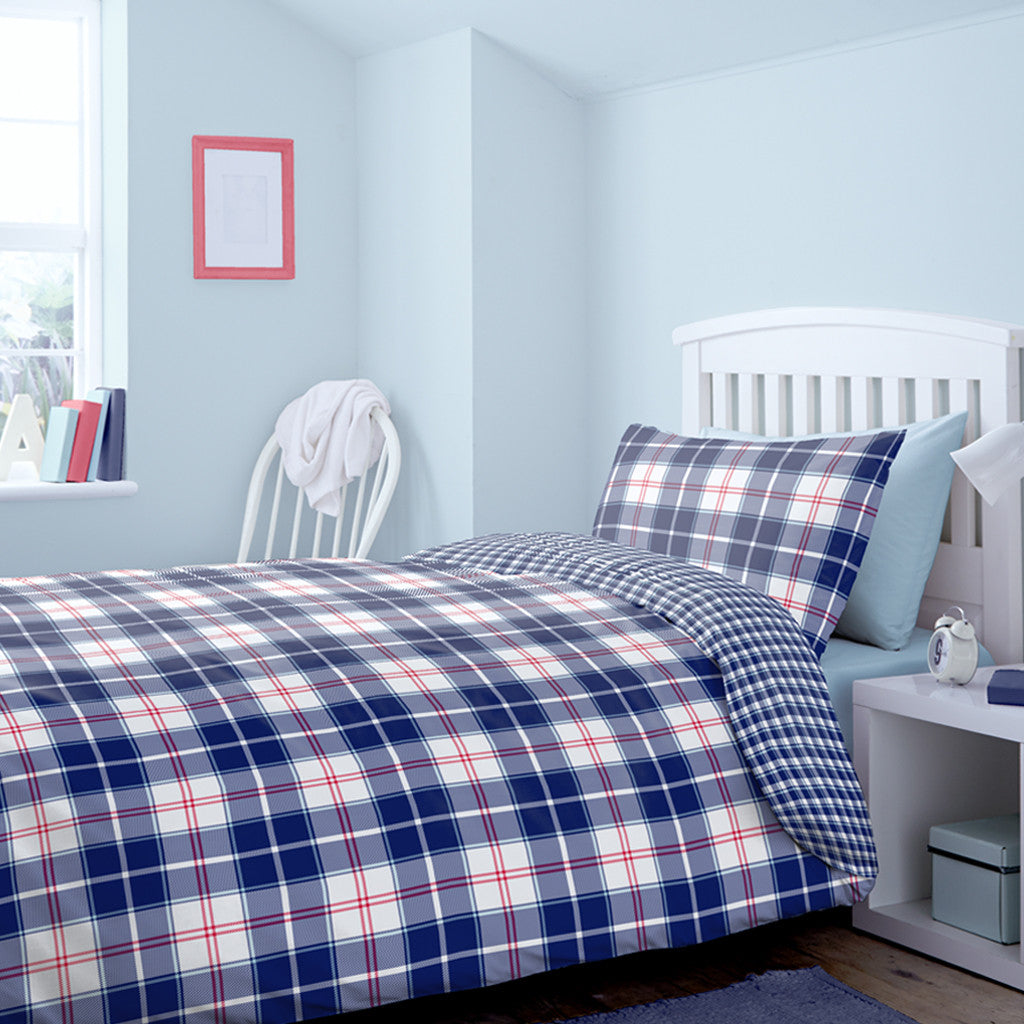Checked Single Duvet cover set