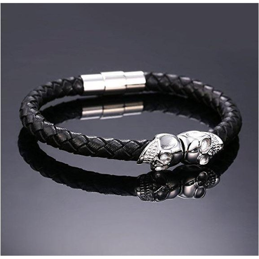 """BADAAHS"" Black Skull Leather-Women - Jewelry - Bracelets-taza-collections-Très Fancy"