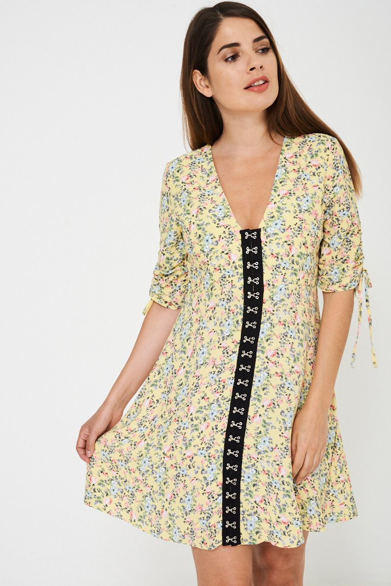 Yellow Sun Dress In Vintage Floral Ex Brand