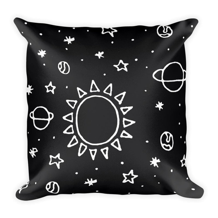 Planets Hand Drawn Square Pillow-Home - Pillows & Throws-Hipster's Wonderland-Très Fancy