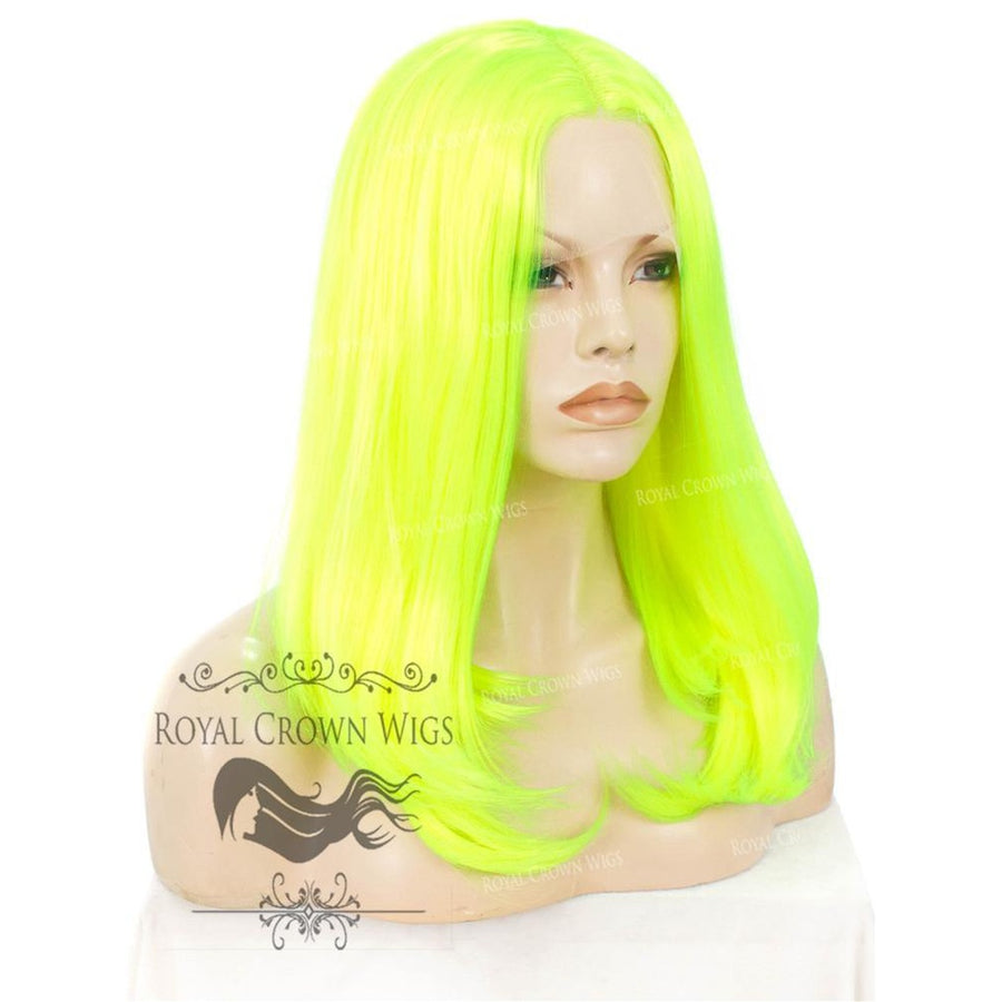 "17 inch Heat Safe Synthetic Lace Front ""Victoria"" Bob with Straight Texture in Highlighter Yellow/Green"