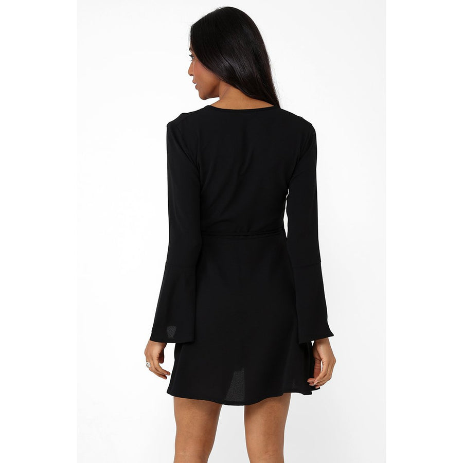 Wrap Midi Dress with Fluted Sleeve in Black Ex Brand