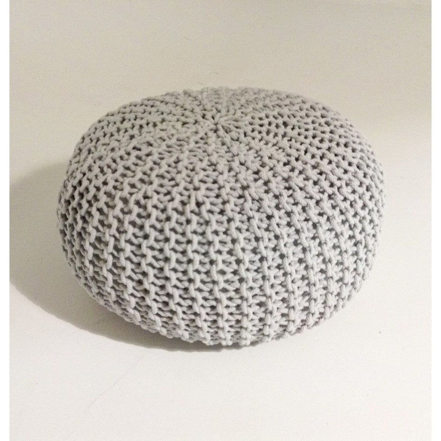 Handmade Round Knitted Pouf | Glacier Grey | 80x35cm | GFURN-Home - Furniture-GFURN Design Furniture-Très Fancy