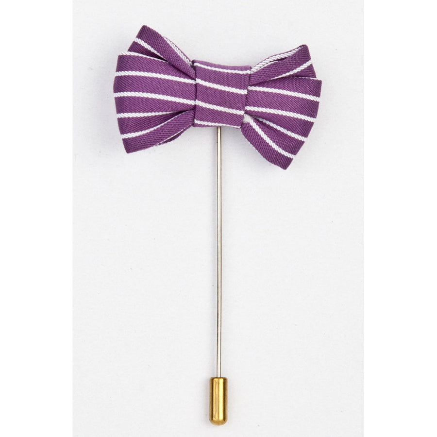 Purple Bow With White Stripe Lapel Pin-Men - Jewelry - Pins-Dapper Homme-TRESFANCY