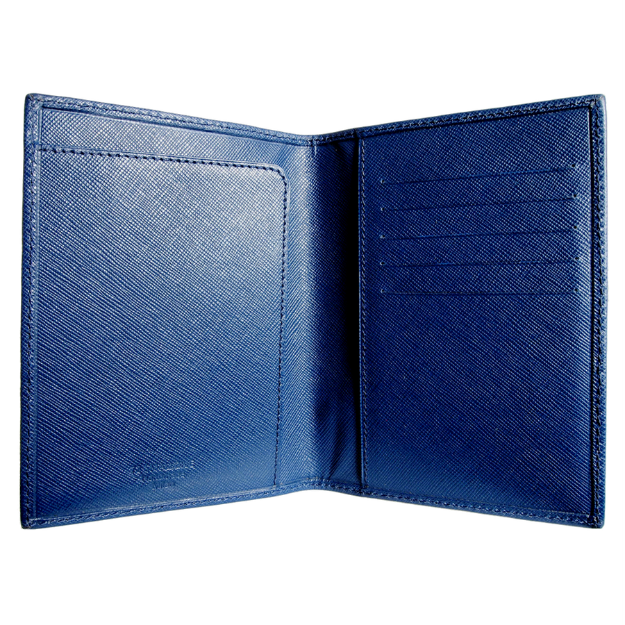 Saffiano Passport Sleeve Blue-Men - Accessories - Wallets & Small Goods-72 Smalldive-Très Fancy