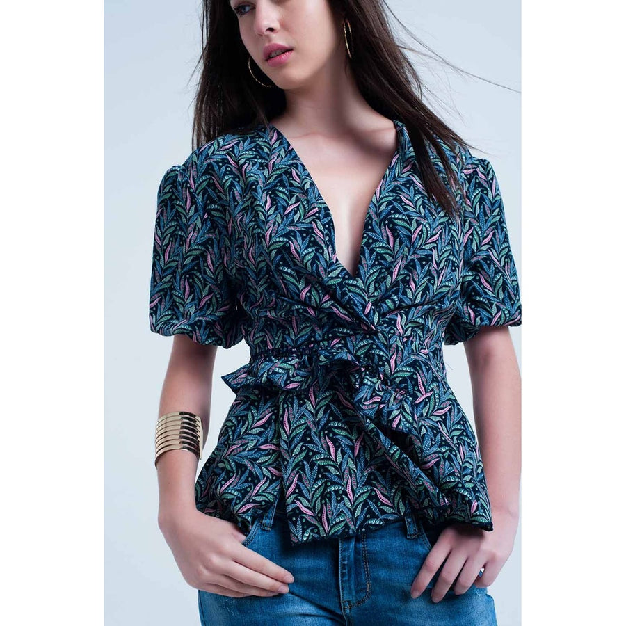 Navy top with leaf print