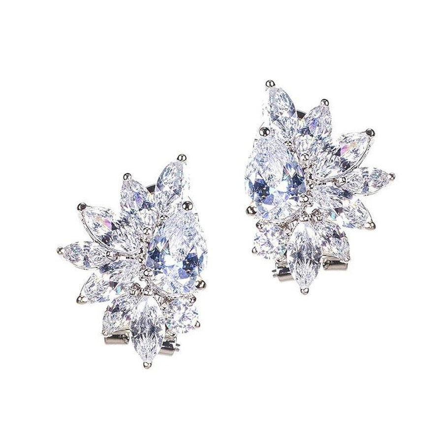 Pear and Marquise Cluster Earrings-CZ by Kenneth Jay Lane-Très Fancy