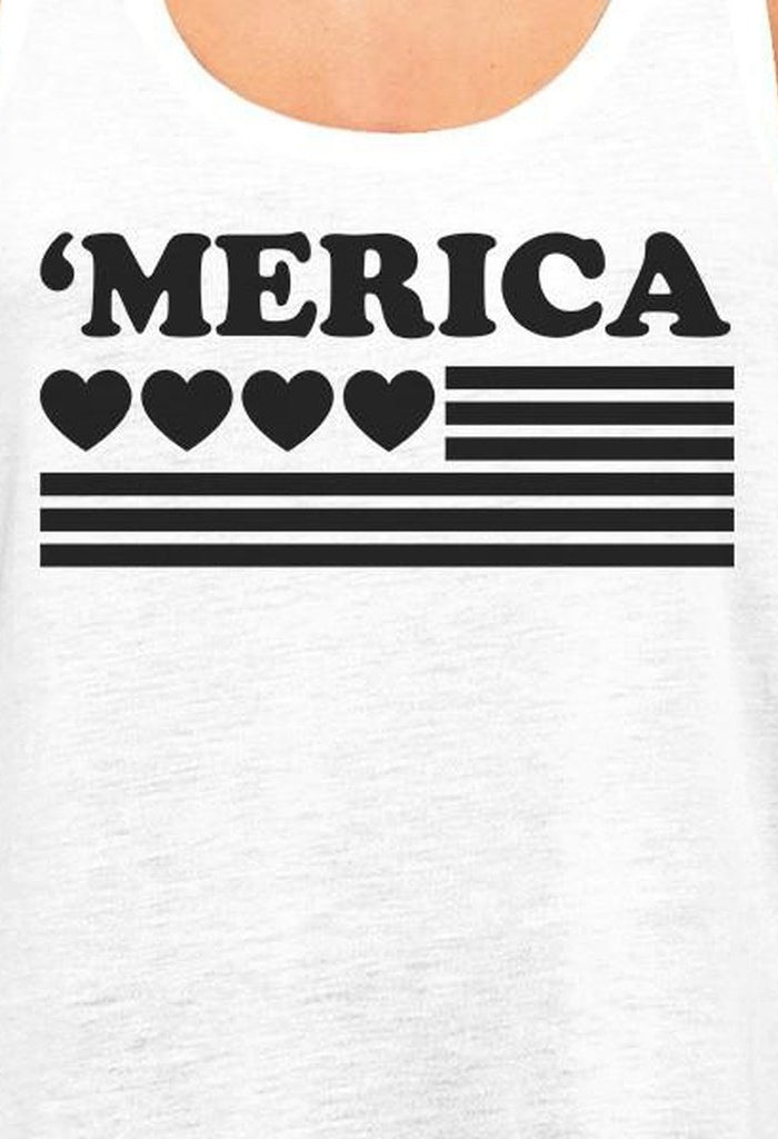 'Merica Womens White Graphic Tank Top Gifts For Independence Day