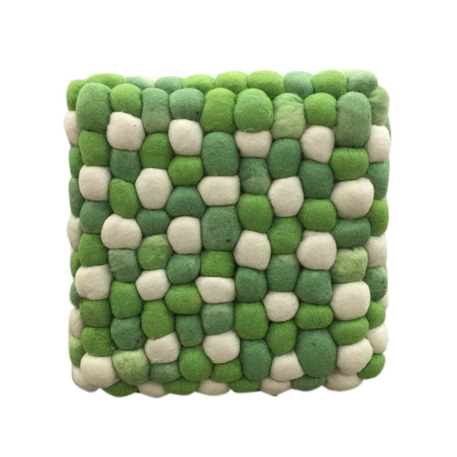 Handmade Woolen Pebble Pouf | Green | GFURN-Home - Furniture-GFURN Design Furniture-Très Fancy