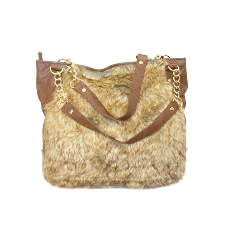 Paloma Brown Faux Fur Chain Handle Tote Bag