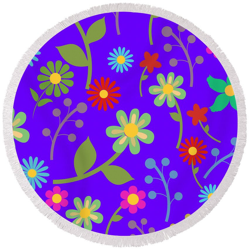 Flower Garden - Round Beach Towel