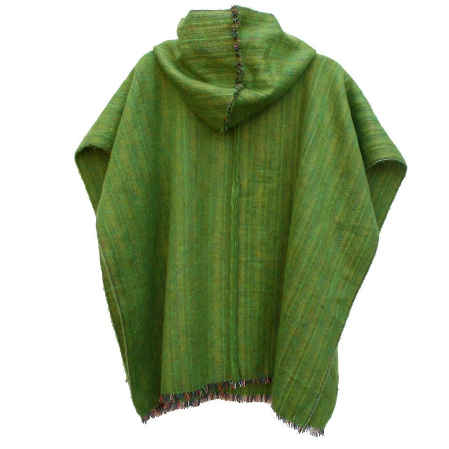 100% Alpaca Poncho in Green Apple