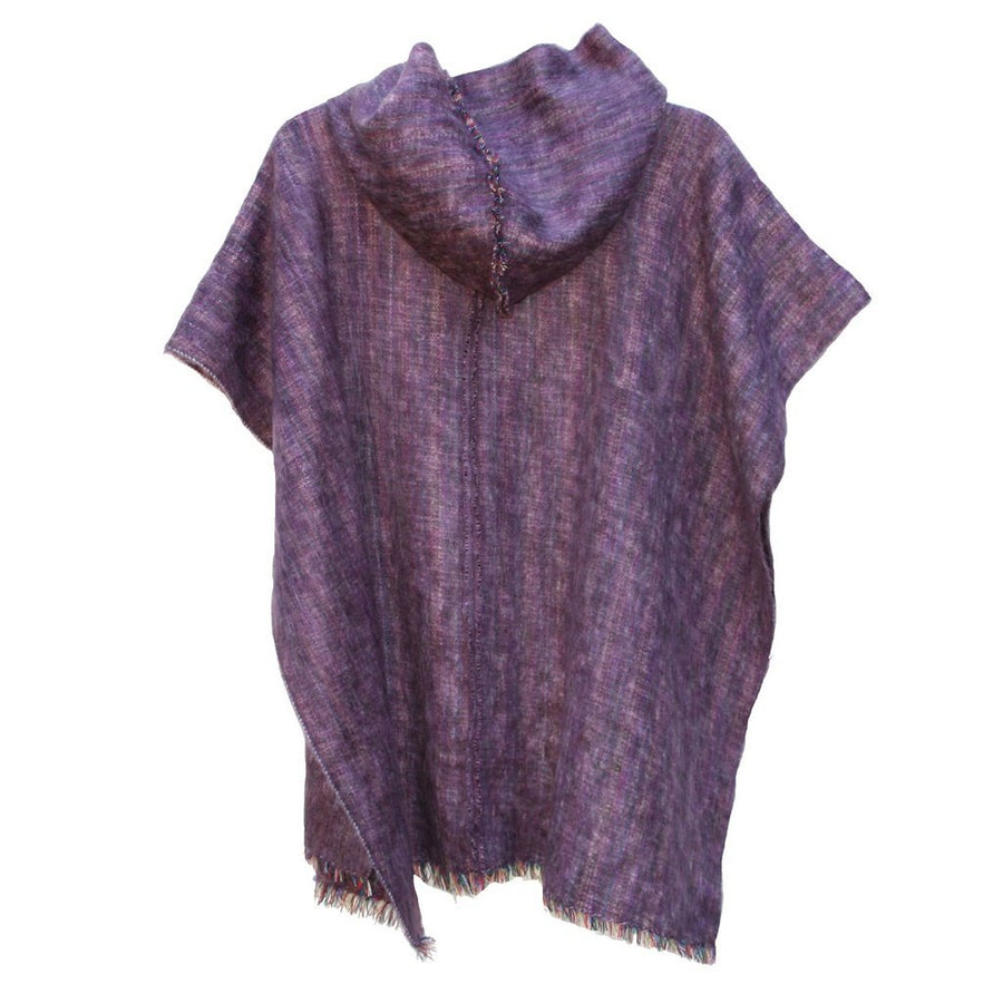 100% Alpaca Poncho in Heather Purple