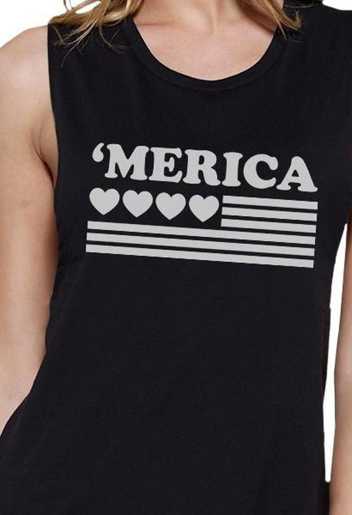 'Merica Womens Black Cotton Muscle Tee American Flag With Heart-Women - Apparel - Activewear - Tops-TSF Design-SMALL-Très Fancy