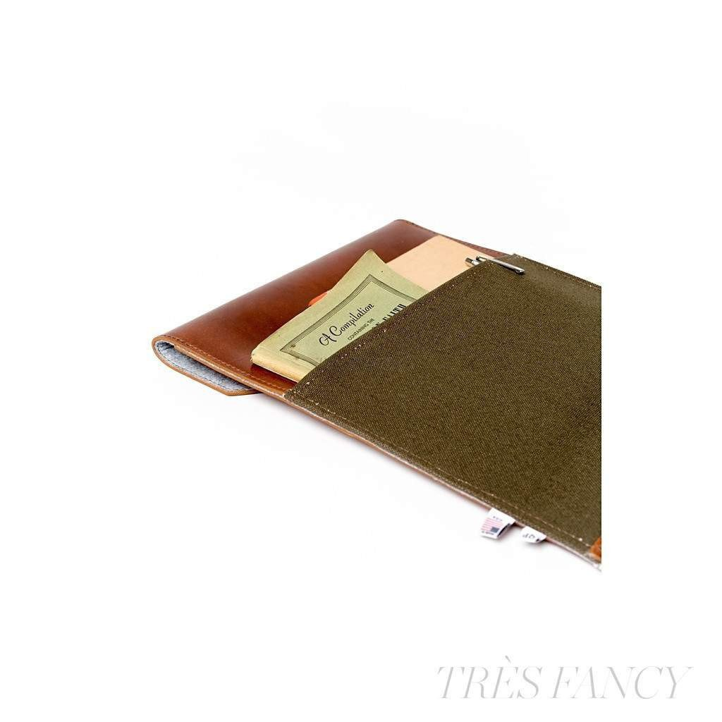 "15"" Laptop Case - Tan and Green - Monogram-Men - Accessories - Wallets & Small Goods-QP Collections-Très Fancy"