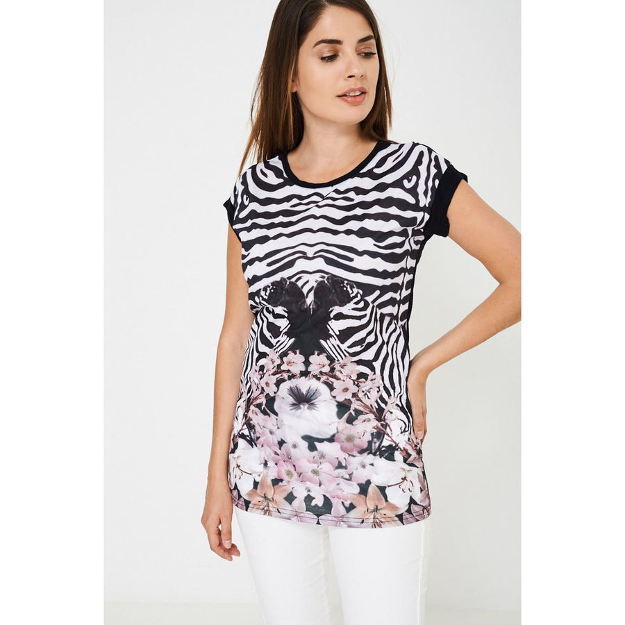 Top in Zebra and Floral Print