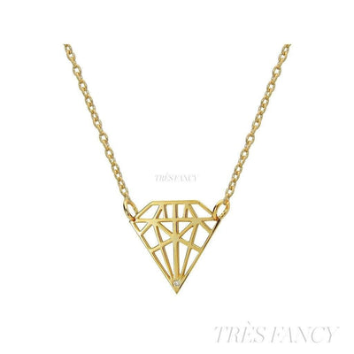 18k Gold Plated Necklace W/Diamond Shape Pendant W/Cz-Women - Jewelry - Necklaces-Fronay Collection-Très Fancy