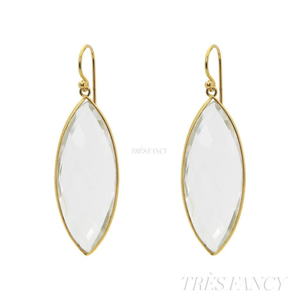 18k Gold Plated Silver Marquee Clear Quartz Hook Earrings-Women - Jewelry - Earrings-Fronay Collection-Très Fancy