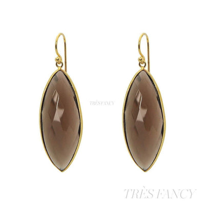 18k Gold Plated Silver Marquee Smoky Quartz Hook Earrings-Women - Jewelry - Earrings-Fronay Collection-Très Fancy