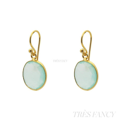 "18k Gold Plated Sterling Silver Small Round Milky Blue-Green Chalcedony Earrings, 1.19""-Women - Jewelry - Earrings-Fronay Collection-Très Fancy"