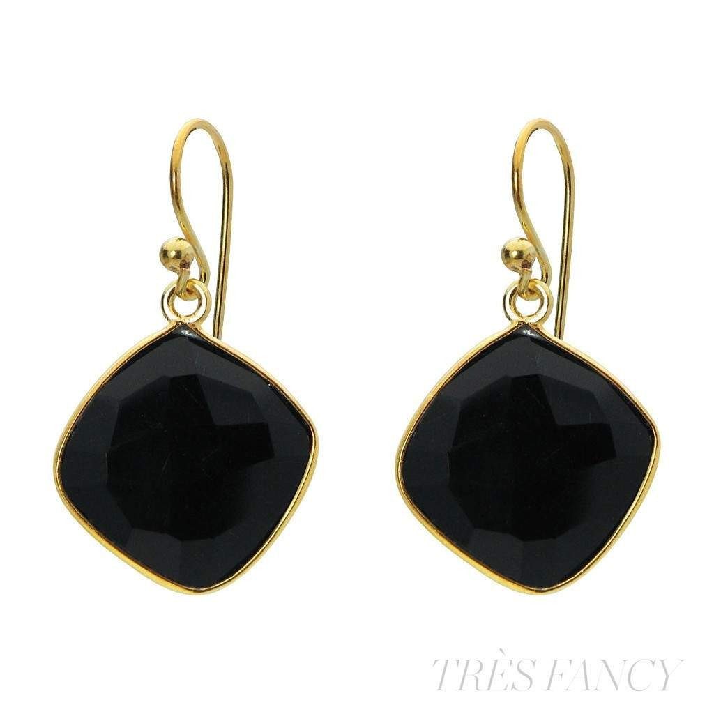 "18k Gold Plated Sterling Silver Small Square Onyx Stone Earrings, 1.19""-Women - Jewelry - Earrings-Fronay Collection-Très Fancy"