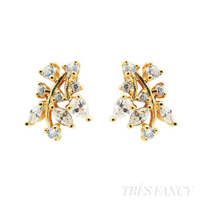 18k Gold Plated Sterling Silver Zirconia Leaf Stud Earrings-Women - Jewelry - Earrings-Fronay Collection-Très Fancy