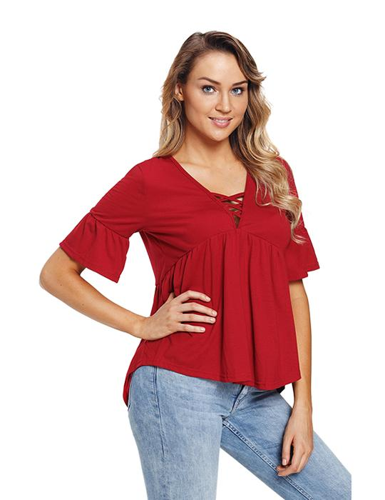 Womens Summer Red Flare T Shirt Criss Cross Top Flounce Lace Up Blouse