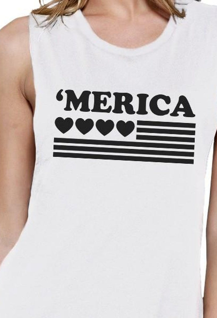 'Merica Womens White Graphic Muscle Top Gift For Independence Day