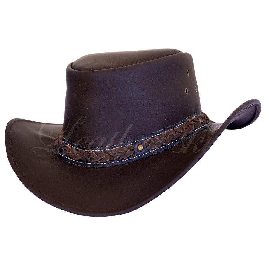Men Handmade Brown Leather Hat-Men - Accessories - Hats-Leather Skin-L(=59cm)-TRESFANCY