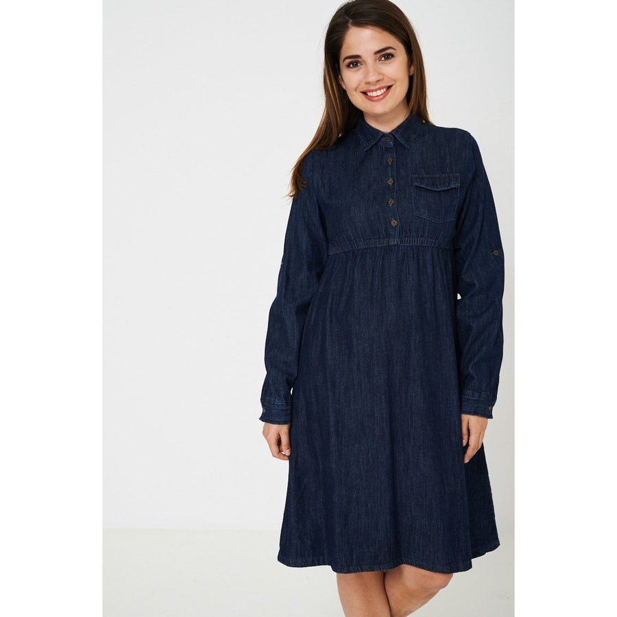 Dark Blue Denim Dress Ex Brand
