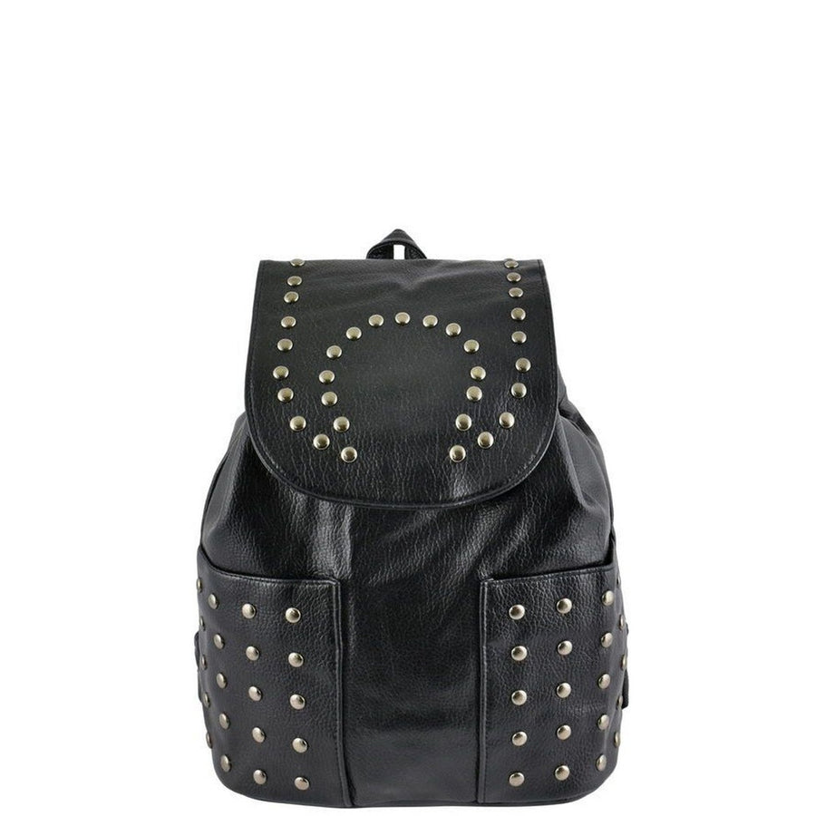 Black Leather Studded Backpack-Women - Bags - Backpacks-Le Chic, LLC-Très Fancy