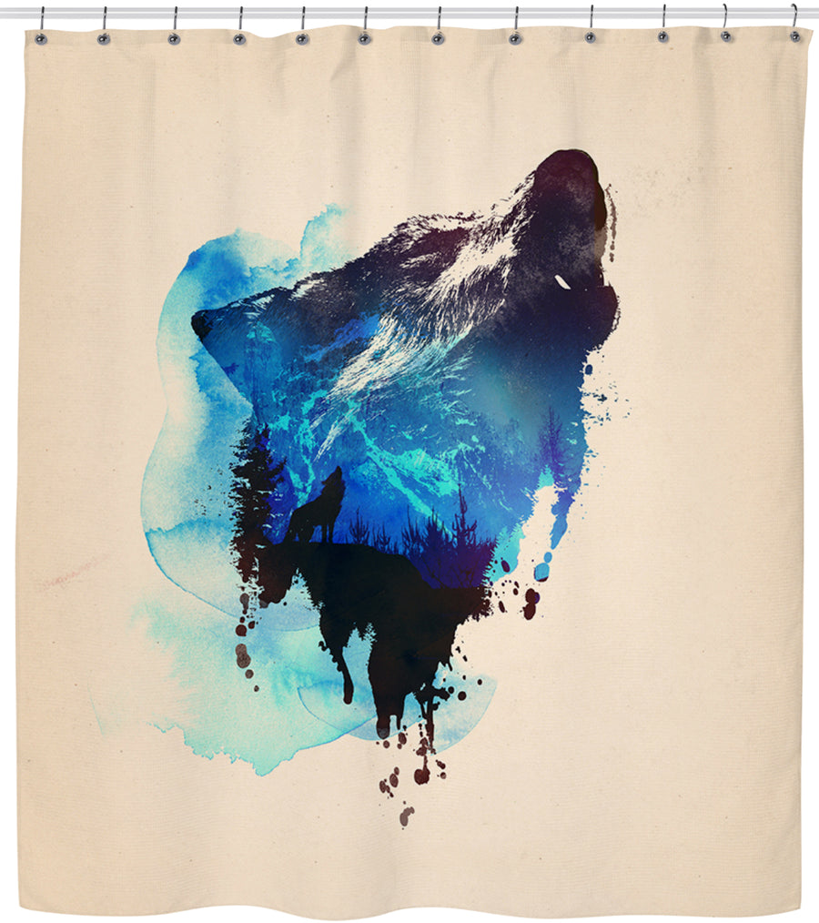 Alone as a wolf-Shower Curtains-Astronaut-One Size-Très Fancy