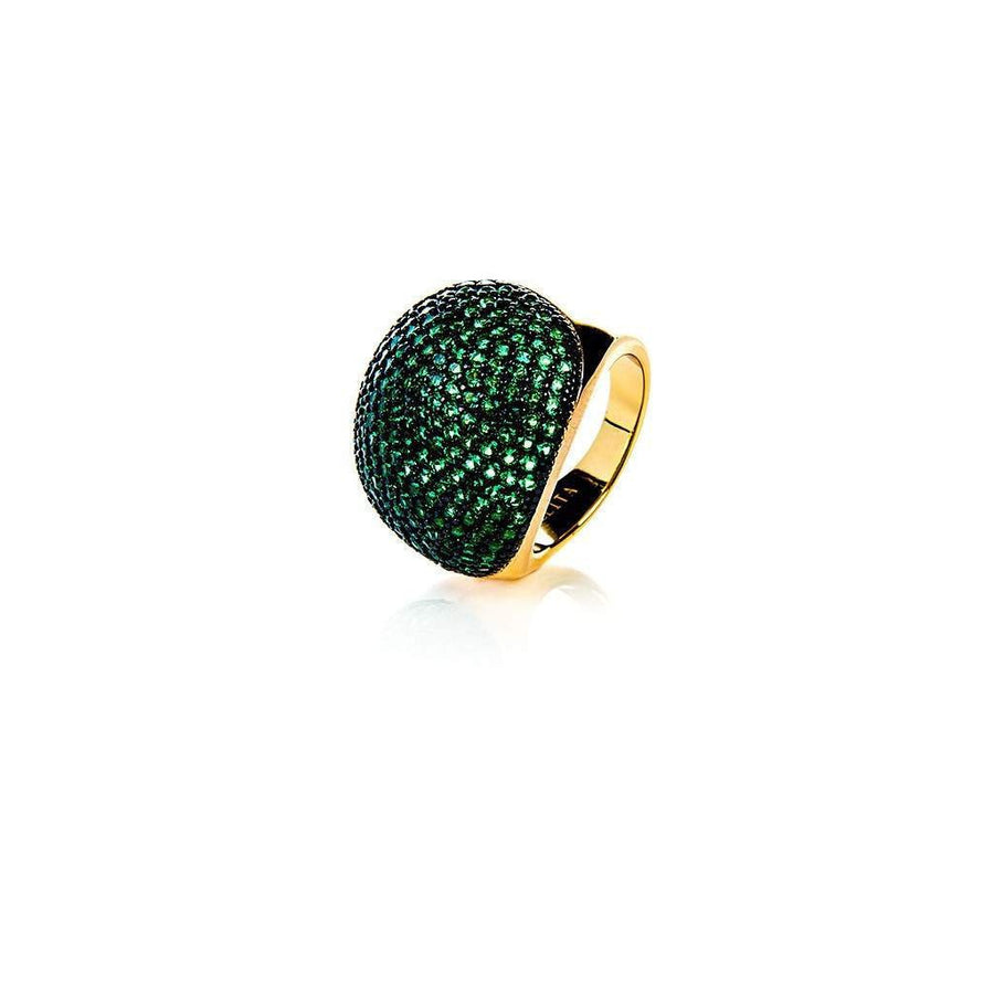22ct Gold Vermeil Micro pave Ball Ring - Green Zircon