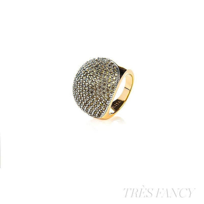 22ct Gold Vermeil Micro pave Ball Ring - Peridot Zircon-Women - Jewelry - Rings-LATELITA LONDON-Très Fancy