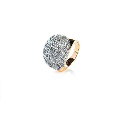 22ct Gold Vermeil Micro pave Ball Ring - White Zircon-Women - Jewelry - Rings-LATELITA LONDON-Très Fancy