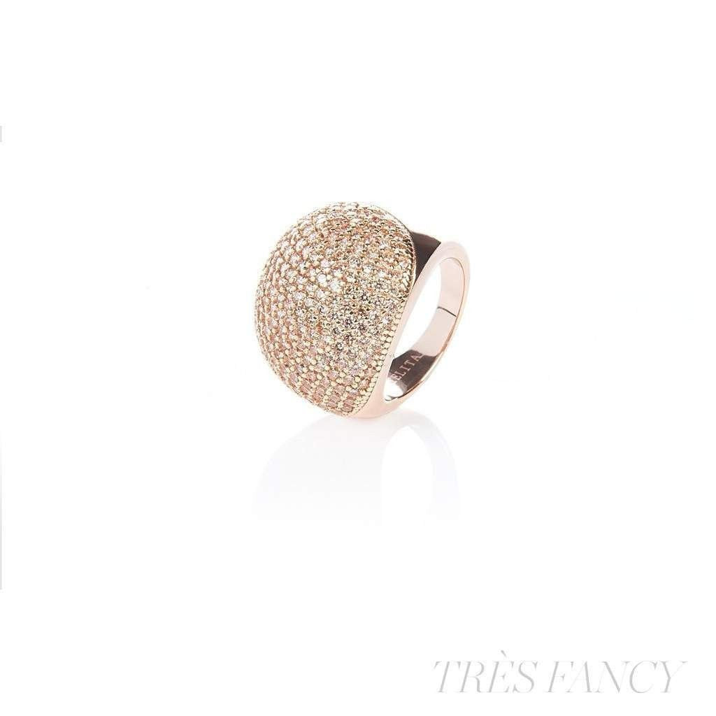 22ct Rose Gold Vermeil Micro pave Ball Ring - Champagne Zircon-Women - Jewelry - Rings-LATELITA LONDON-Très Fancy
