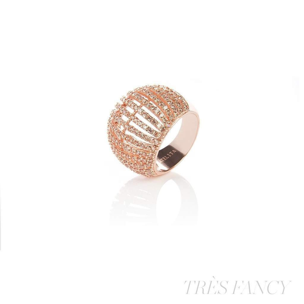 22ct Rose Gold Vermeil Micro pave Comb Ring - Champagne Zircon-Women - Jewelry - Rings-LATELITA LONDON-Très Fancy