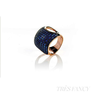 22ct Rose Gold Vermeil Micro pave Cushion Ring - Blue Zircon-Women - Jewelry - Rings-LATELITA LONDON-Très Fancy