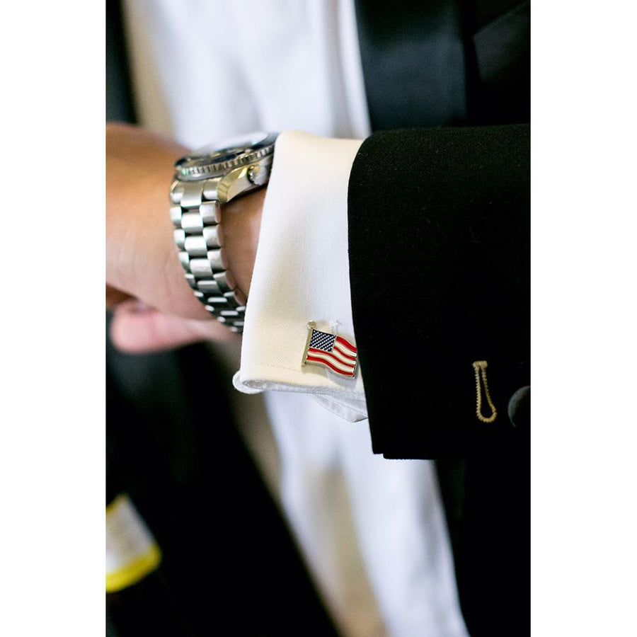 American Flag Cufflinks - In the Wind