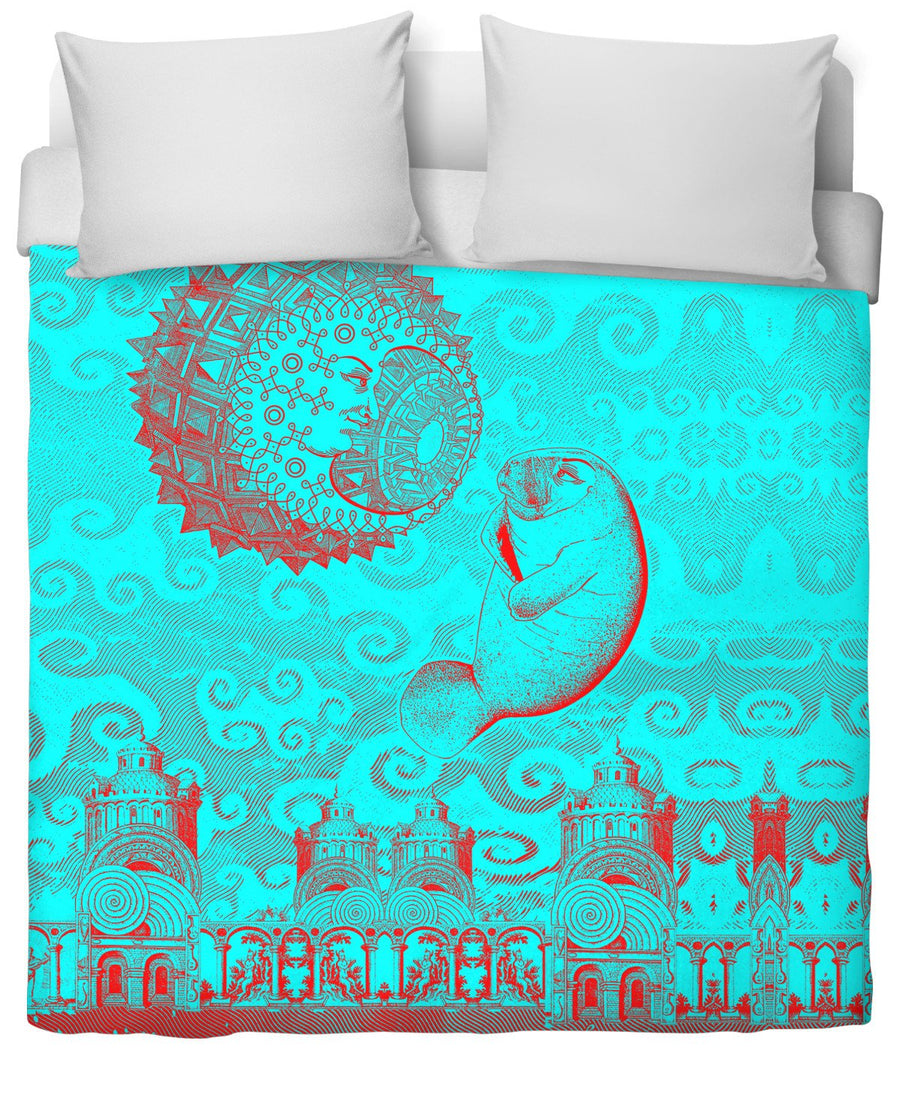 Moon and Manatee Duvet Cover-Duvet Covers-LarryCarlson-Twin-Très Fancy