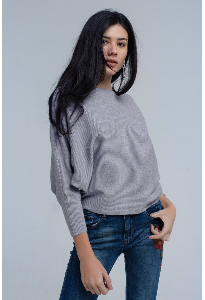Gray batwing sweater-Women - Apparel - Sweaters - Pull Over-Q2-S-Très Fancy