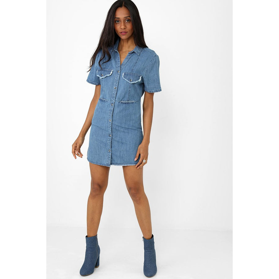 Shirt Dress in Denim Blue