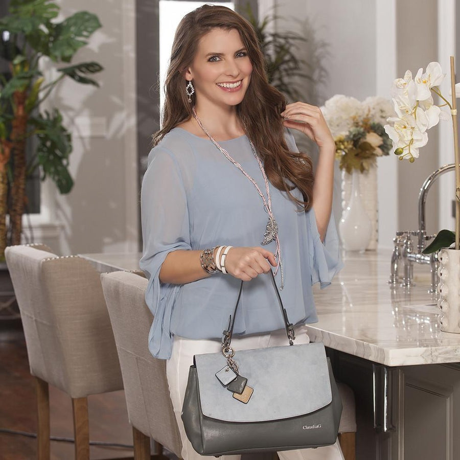 Simonetta Leather Handbag -Serenity / Charcoal-Women - Bags - Satchels-ClaudiaG Collection-Très Fancy