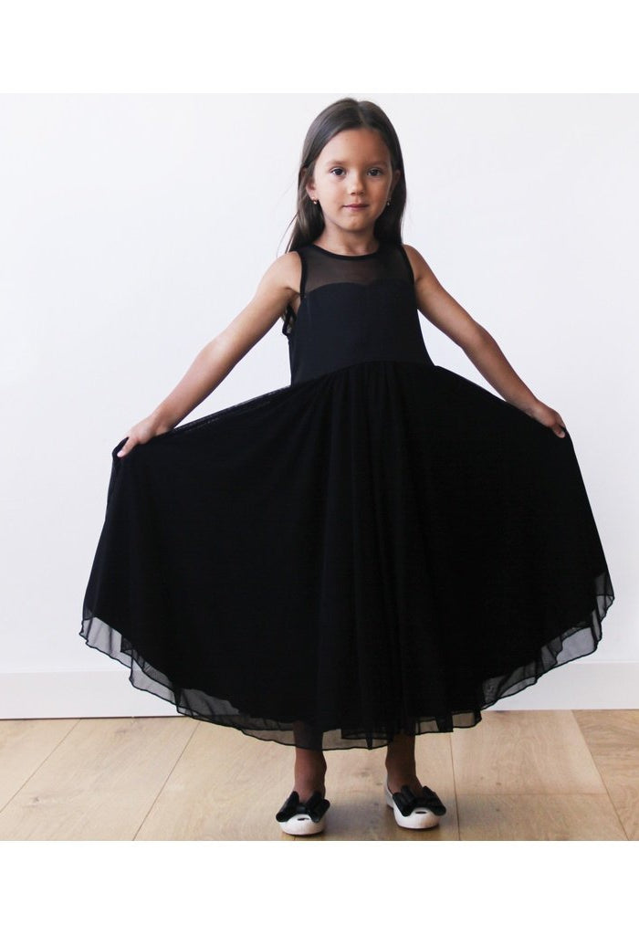 Sweetheart black flower girl dress 5005