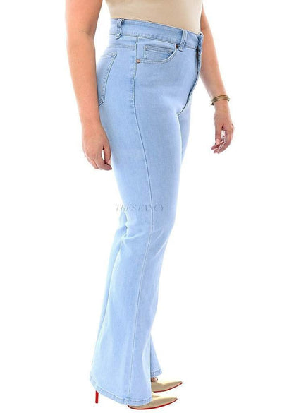 360 Stretch High Rise Flea Market Flare Jeans in Sky Bleach Blue-Women - Apparel - Plus - Denim - Jeans-SVOBODA & 360 Stretch-12-Très Fancy
