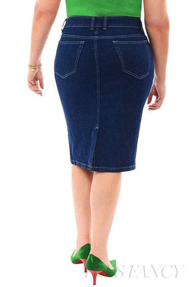 360 Stretch Knee Length Pencil Skirt in Blue Depths-Women - Apparel - Plus - Skirts-SVOBODA & 360 Stretch-12-Très Fancy